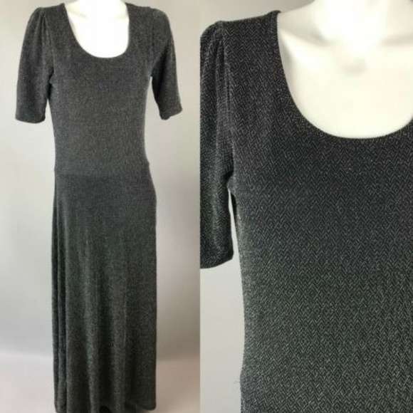 Lularoe Dresses Ana Elegant Black Metallic Maxi Dress Sz L Poshmark